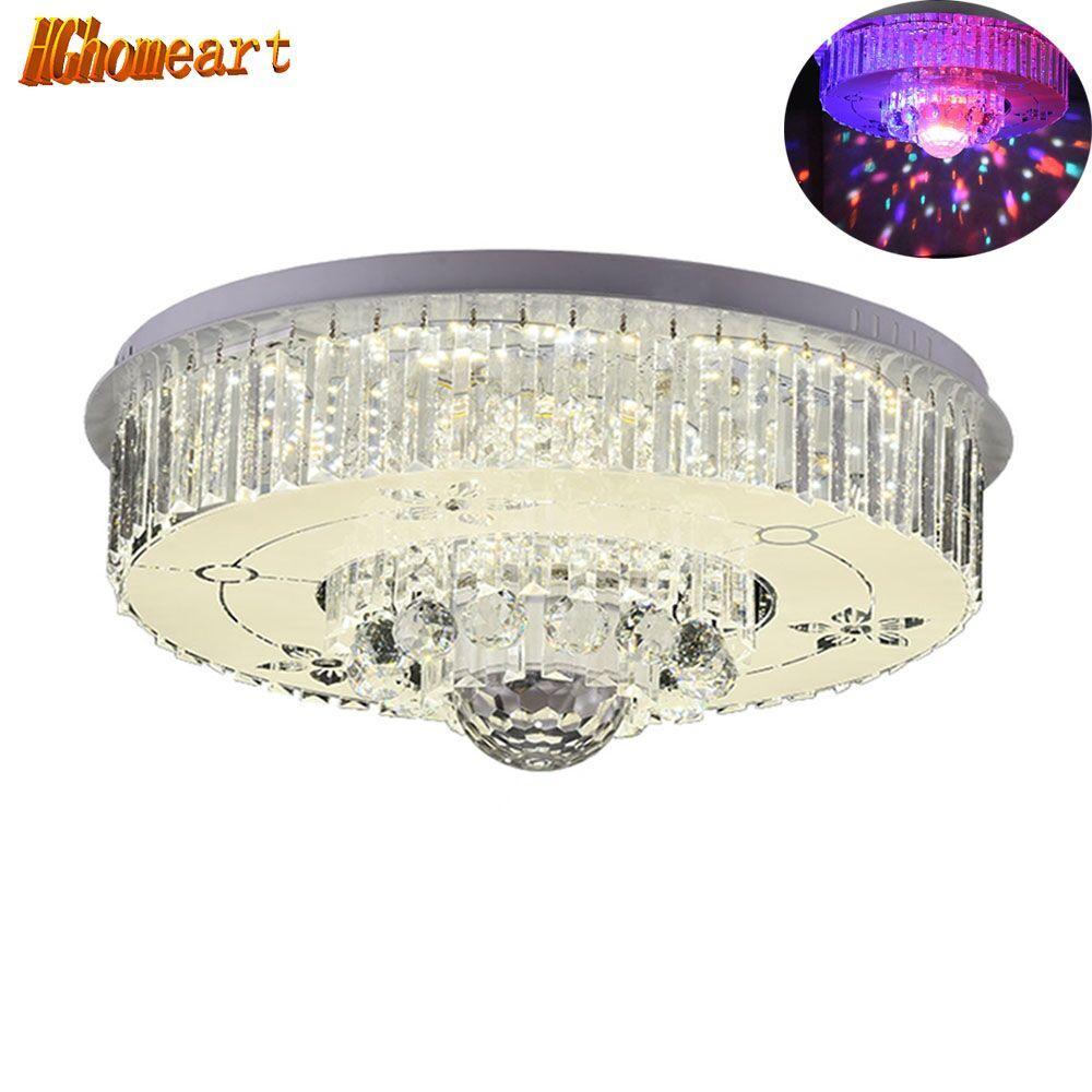 Hghomeart fashionable ceiling light led bluetooth crystal music living room lights lustre luminaire night lamp lighting 110 220v