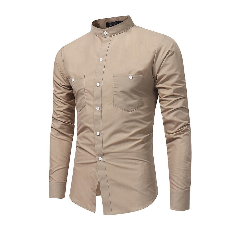 a3e699e4cae9 2019 Brand 2018 Fashion Male Shirt Long Sleeves Tops Stand Collar Young  Solid Color Shirt Mens Dress Shirts Slim Men XXXL From Macloth, $25.92 |  DHgate.Com