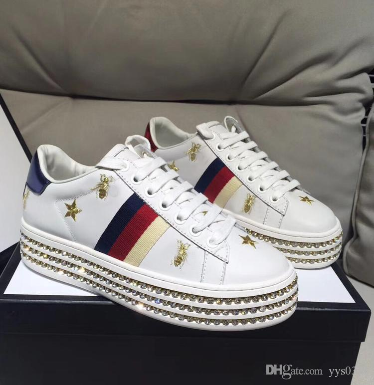 f694429693 New Women S Shoes Fashion Casual Thick Soled Height Increasing Shoes All  Around Diamonds Trendy Shoes Manual Embroidery Letters Casual Flat Shoes  Yellow ...