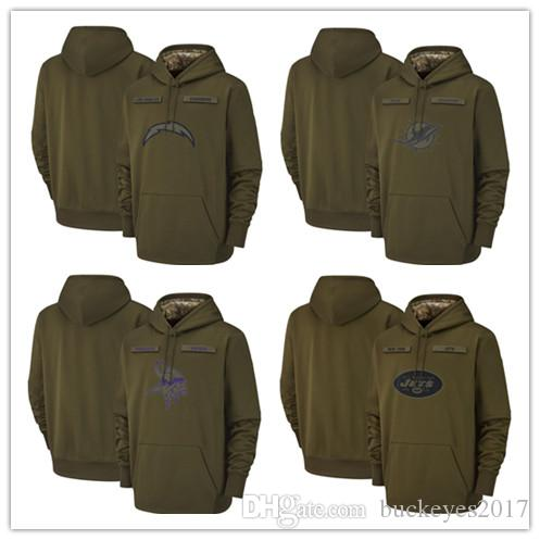 new arrival d8e59 fd4e2 Los Angeles Chargers Miami Dolphins Minnesota Vikings New York Jets  Sweatshirt Olive Salute to Service Sideline Therma Pullover Hoodies