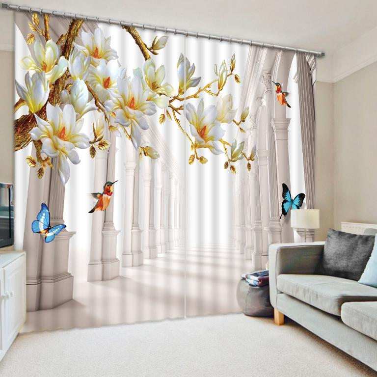 European Style 3D Curtains Flower Blackout Window Curtain Living Room Roman  Curtain Home Wall Tapestry Decorative Shade Drapes
