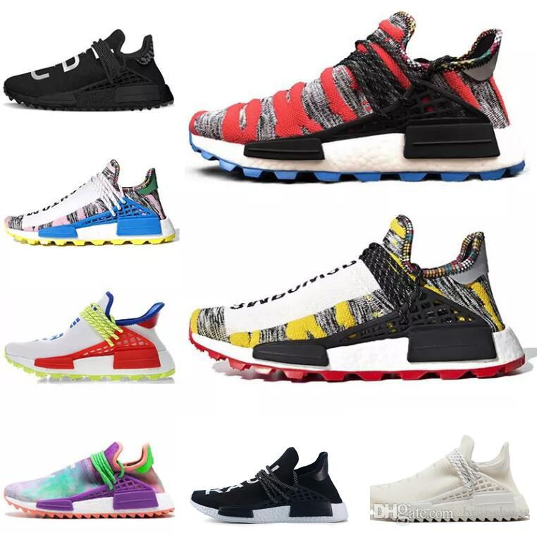c87a77281 New Arrival Human Race Hu Trail X Pharrell Williams Men Running Shoes Solar  Pack Afro Holi Blank Canvas Mens Trainers Women Sports Sneaker Top Running  Shoes ...