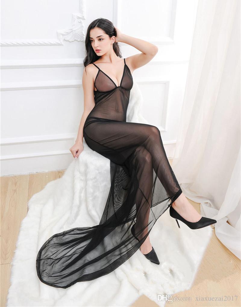 شبكة شفافة بيبي دول فستان طويل المرأة sleepshirts ملابس داخلية مثيرة الساخنة النساء المثيرة ملابس خاصة مثير ثوب النوم