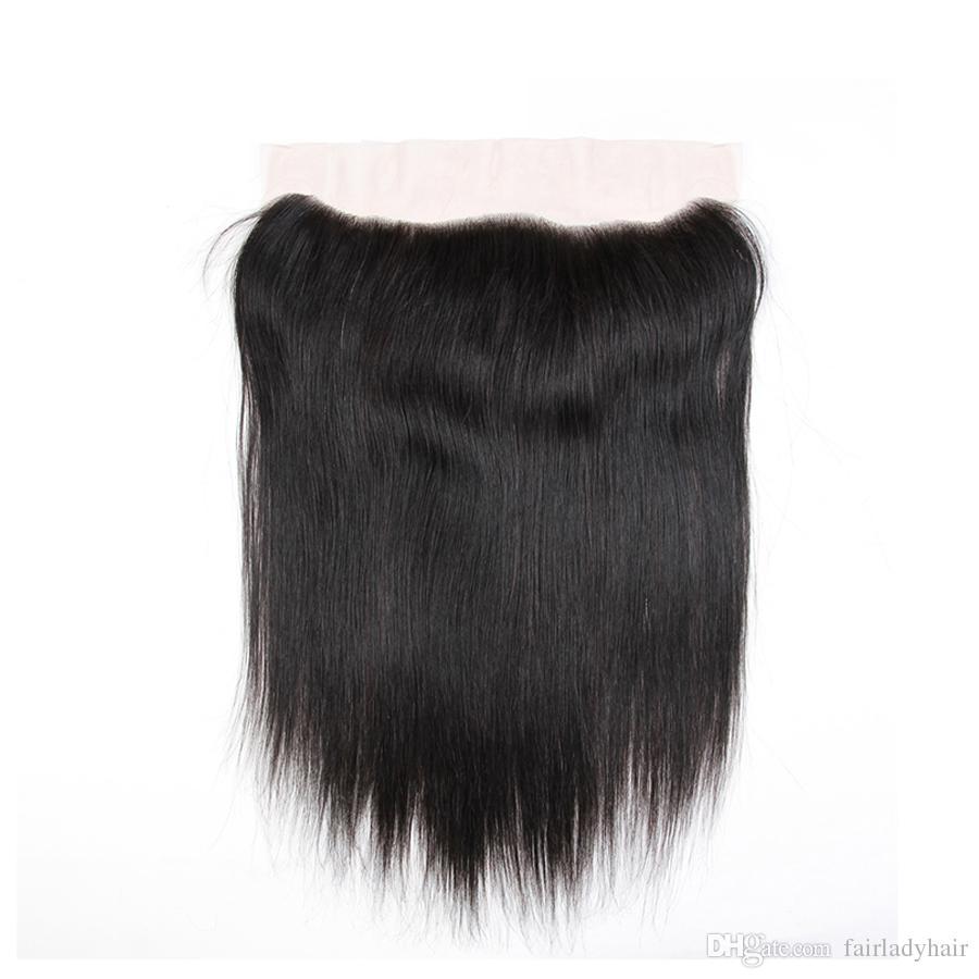 Peruvian Hair With Closure Virgin Straight Hair Bundles With 13*4 Lace Frontal 100% Unprocessed Virgin Brazilian Peruvian Human Hair Weaves