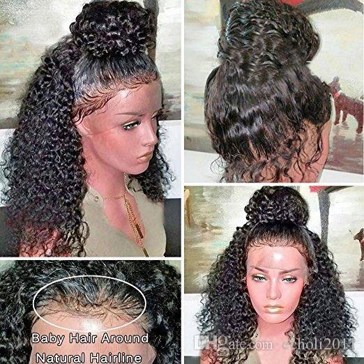 360 Dantel Frontal Peruk Pre-Pllucked Bakire Saç 360 Dantel Ön İnsan Saç Siyah Kadınlar Için Peruk Kıvırcık Saç Peruk 12 inç% 180 Densit