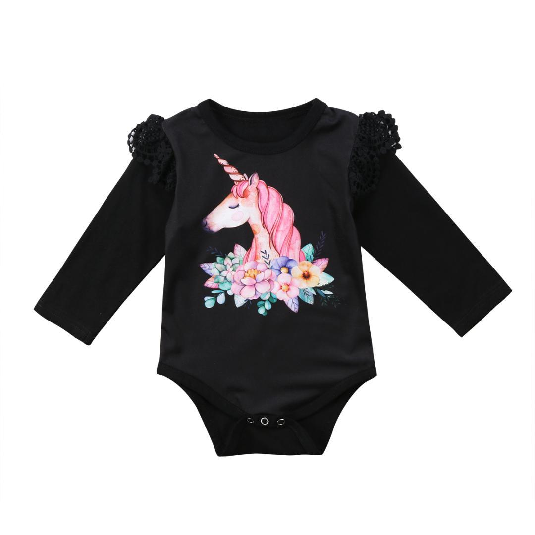 50d538699 2019 Black White Cartoon Unicorn Baby Girls Clothes Infant Baby ...