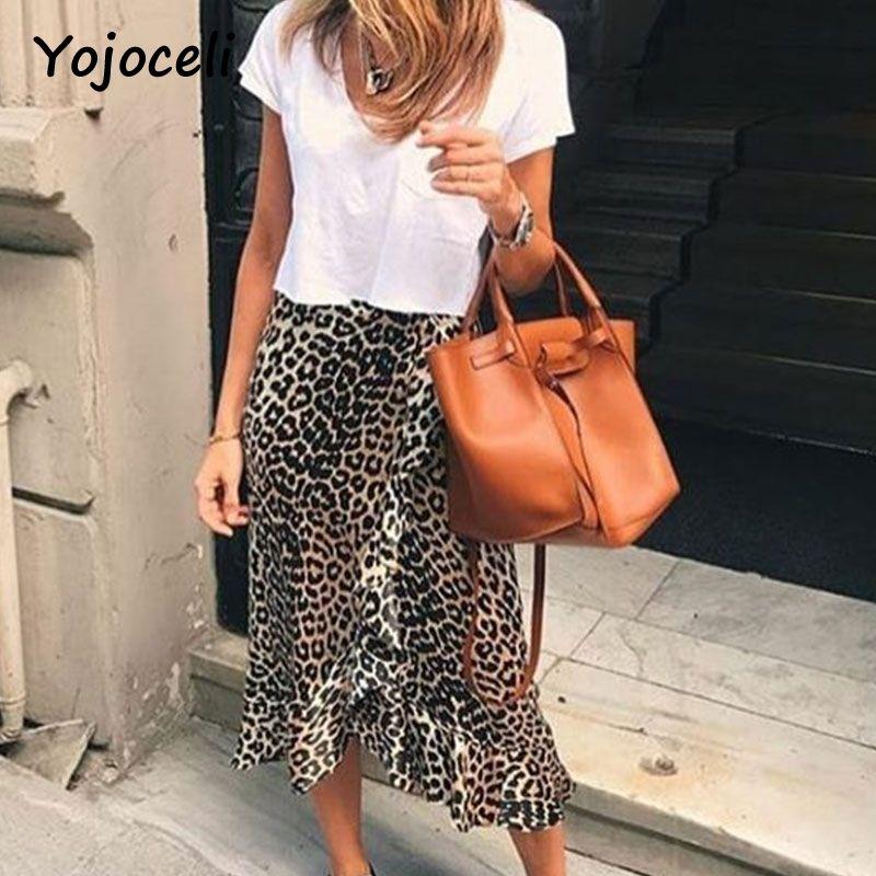 9c7b6898634761 Yojoceli jupe à volants imprimée léopard sexy bas femmes jupe asymétrique  buste club féminin jupe C18111301