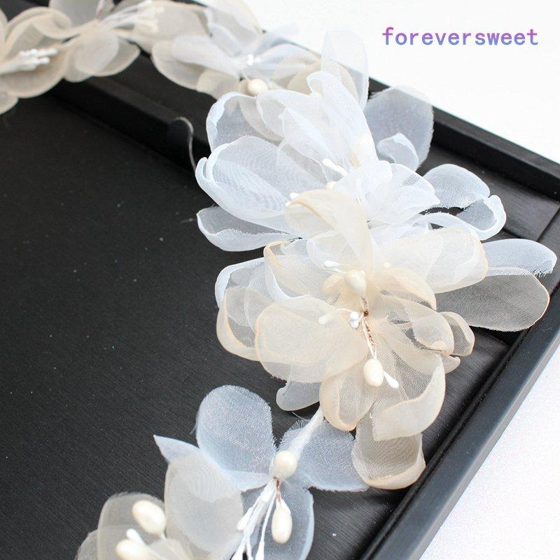 Korean bride headdress wreath bei'ge garland head beach wedding hair jewelry for bridesmaid flower girls headband