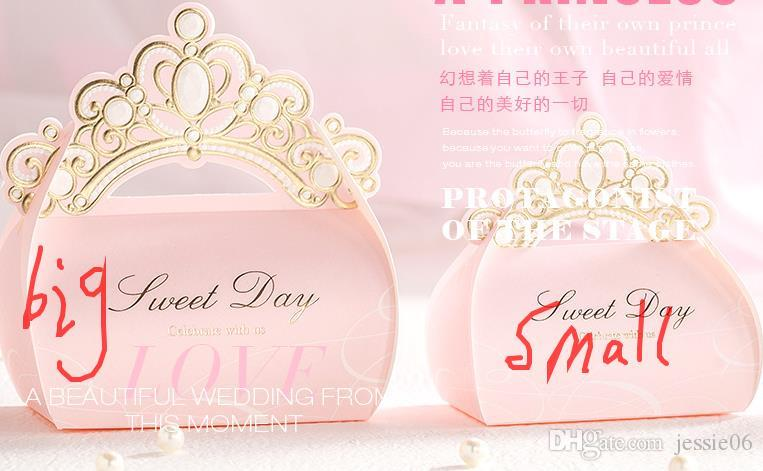 Pink Gold Crown Laser Cut Wedding Favour Boxes Chocolate Bag Baby Shower Party Gift Candy box sweet day present wrap
