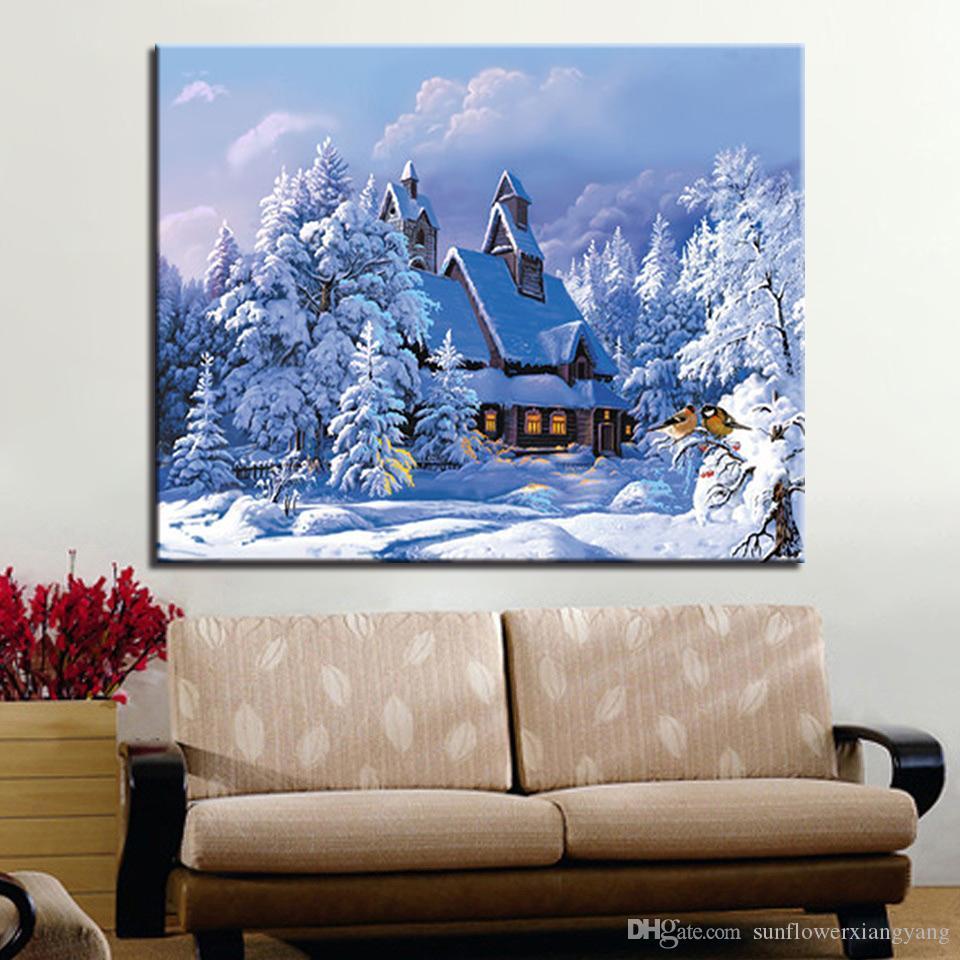 Acheter Peinture Moderne Par Numéro Dessin Hiver Forêt Maison Bâtiment  Oeuvre Image Pour Salon Cadeaux Uniques Décoration De Maison Mur De $30.36  Du ...
