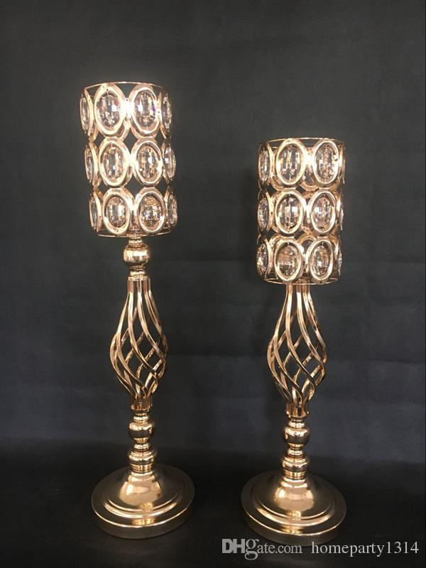 55-61CM tall Iron flower crystal vase pillar candle holder flower stand crystal candlesticks stage backdrops table European ornaments