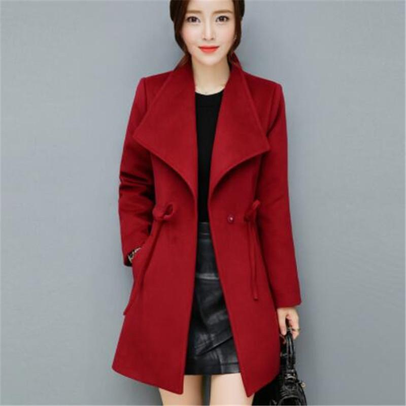 c7aa84110e253 2019 Kpop Women Woolen Coats Autumn Winter Trench Coat Ties Femme Fashion  Slim Long Armygreen Overcoat Plus Size Outerwear From Caicloth