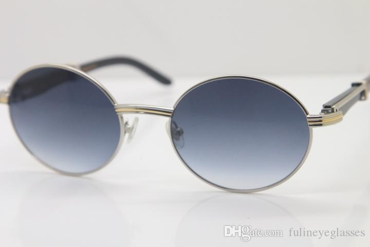 Envío gratis 18k Oro Negro Cuerno de búfalo Gafas Hombres 7550178 Gafas redondas de metal Diseñador de la marca al por mayor Gafas de sol Tamaño: 57-22-135mm