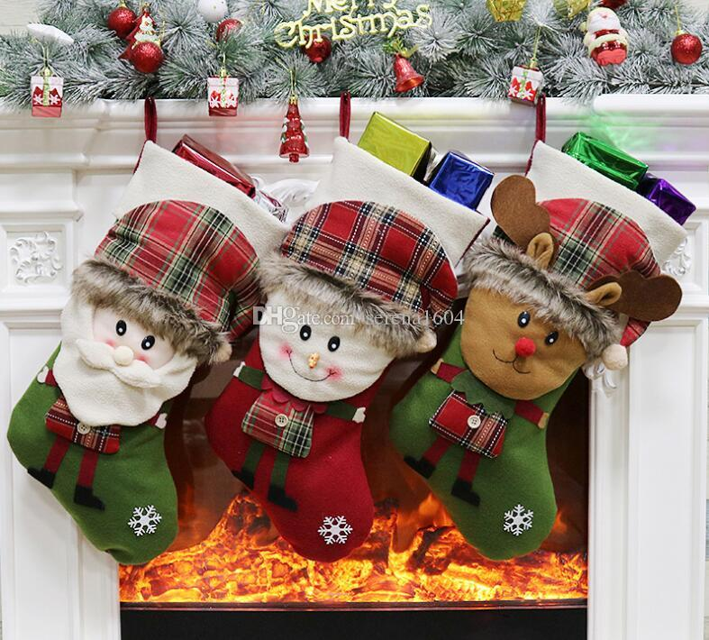 hotsale large christmas stocking xmas decorations for home christmas tree ornaments gift holders stockings santa claussnowmanreindeer christmas - Large Christmas Ornaments