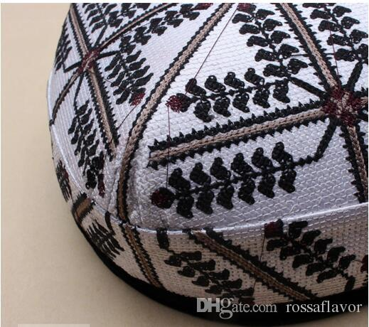 Muslim Men's Uighur Flower Xinjiang Uygur hat Handmade Flat top Hat traditional folding pattern embroidery cap four almond Doppa Hot Sell