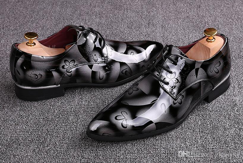Men Dress Wedding Shoes Shadow Patent Leather Luxury Fashion Groom Party Shoes Men Oxford Shoes 37-46 Male Flats