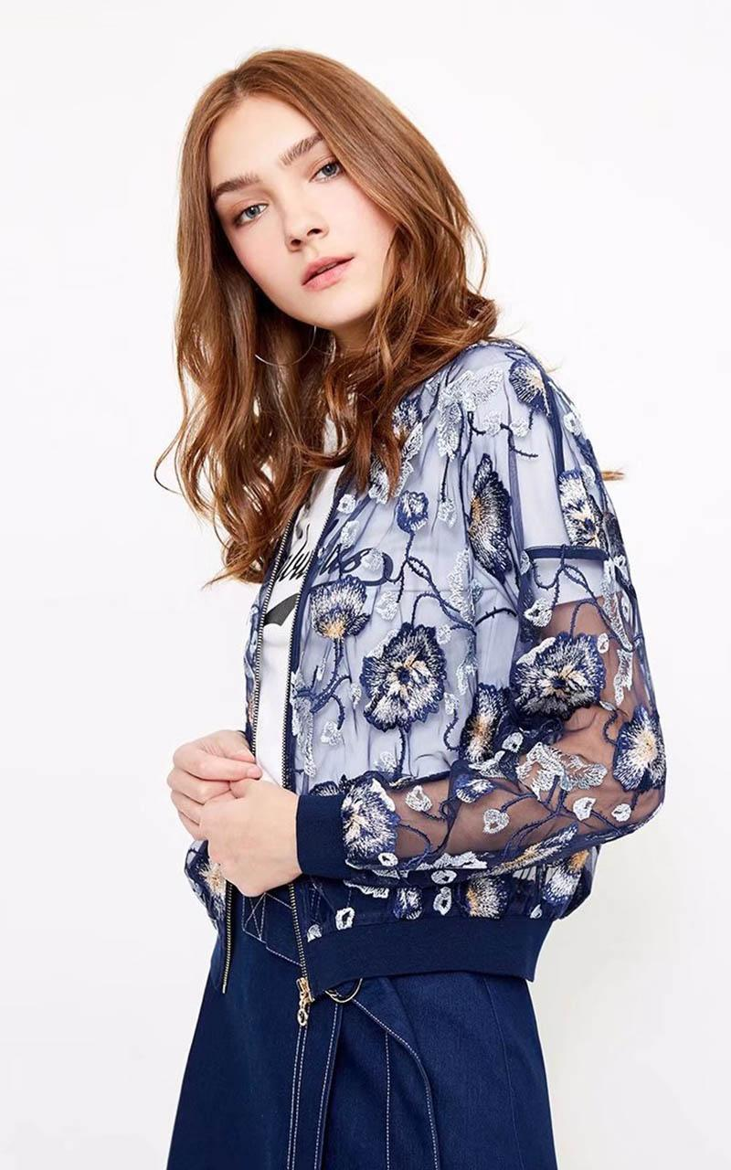 2018 summer women jacket New Eugenian Embroidered Lace Translucent Short Jacket Dark blue pink large size coat Zipper round neck