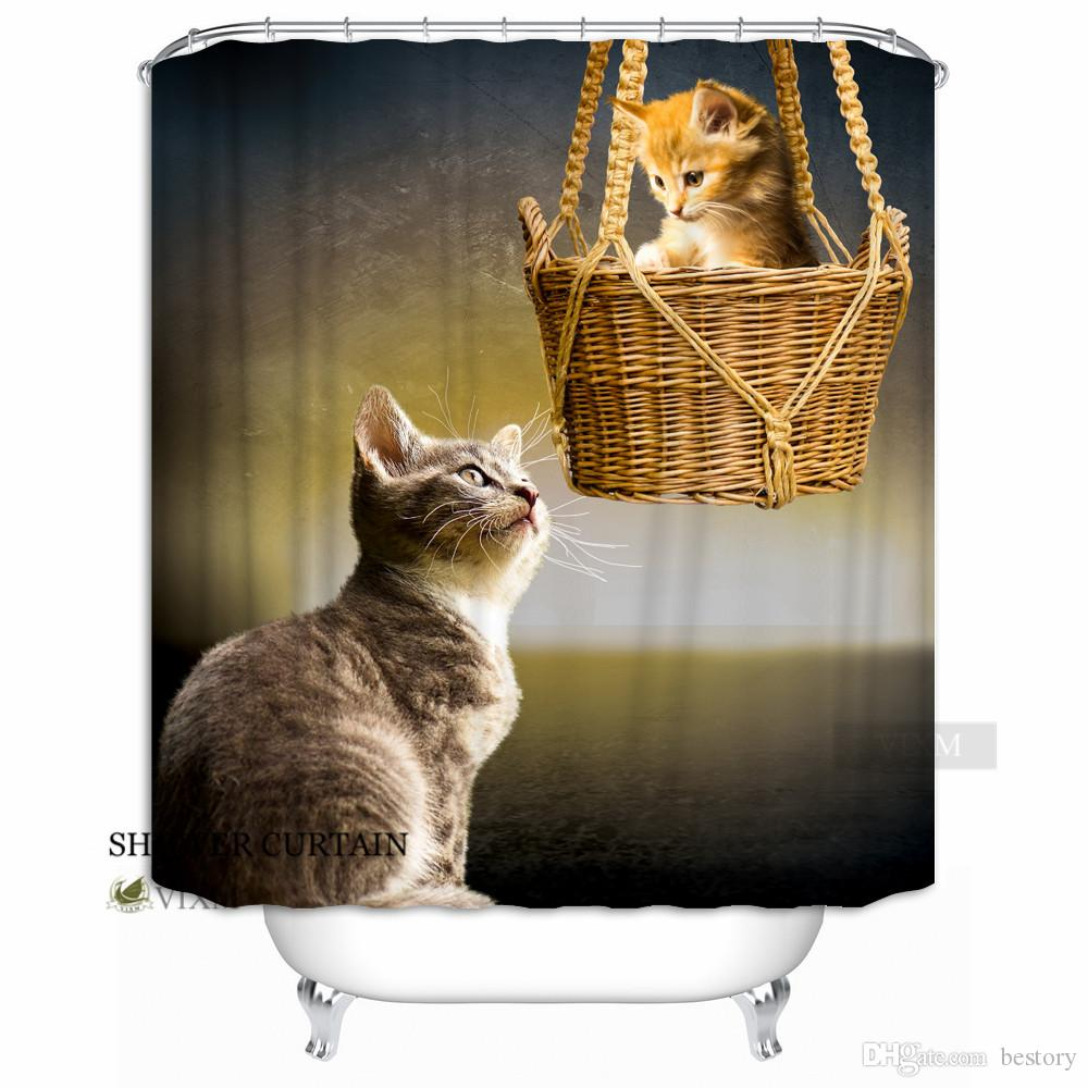 2019 Vixm Home Farm Animal Kitten Fabric Shower Curtain Adorable And Unique Cat Customized Bath For Bathroom With Hooks Ring 72 X From Bestory