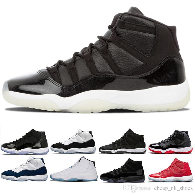 d050d8a99c9 Compre Nike Air Jordan Retro 11 Melhor 11 Cap E Vestido De Tênis De Basquete  Das Mulheres Dos Homens Prom Noite Sapatilha Ginásio Preto Vermelho Meia  Noite ...