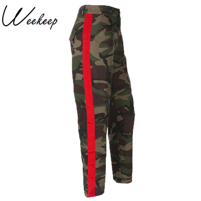 941a6c7b54 Compre Weekeep Moda Pantalones De Camuflaje De Cintura Alta Mujeres  Bolsillos De Retazos Pantalones Vaqueros De Carga De Algodón Pantalones  Mujeres Pantalón ...