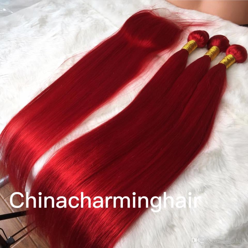 Red Human Hair silky straight red color Hair Bundles With Lace Closure