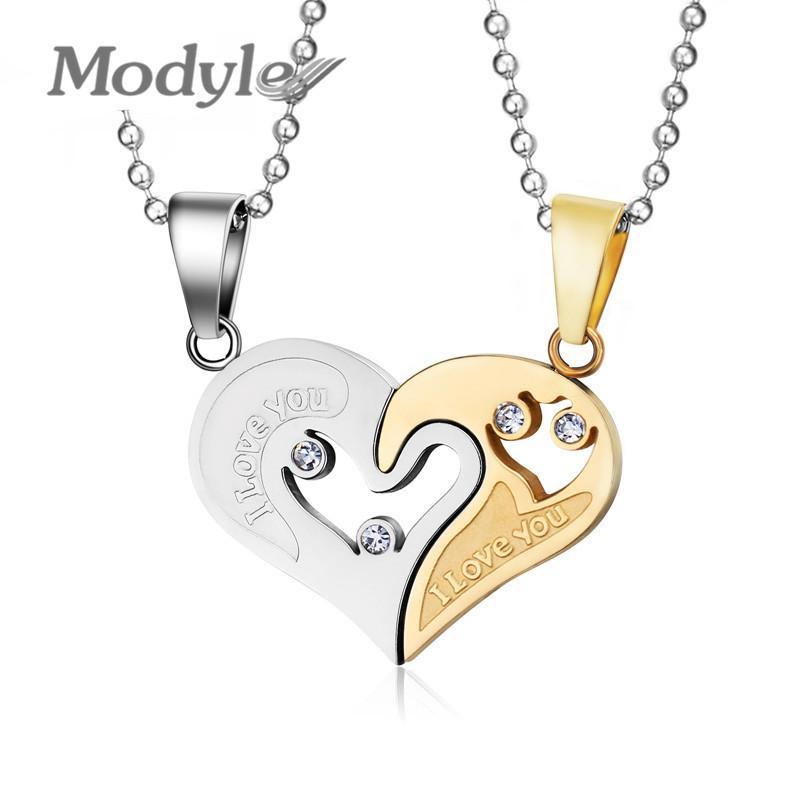 d634b8930774 Compre Modyle Nueva Marca De Diseño De Cristal Austriaco Corazón Collares De  Acero Inoxidable Colgantes Joyería De Moda Para Mujeres Venta Al Por Mayor  A ...