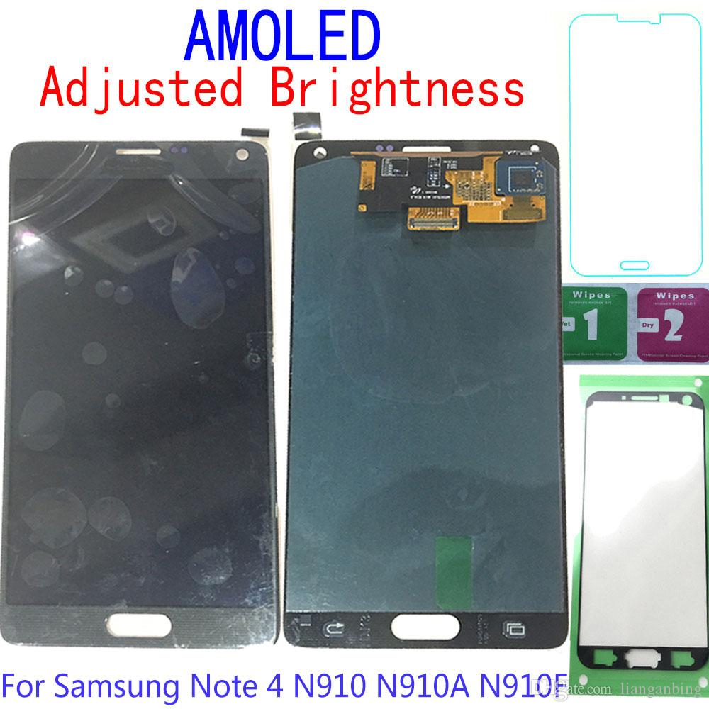 Super AMOLED LCD Display Touch Screen Digitizer For Samsung Galaxy Note 4 N9100 N910A N910F Black White Gold Tempered Glass DHL logistics
