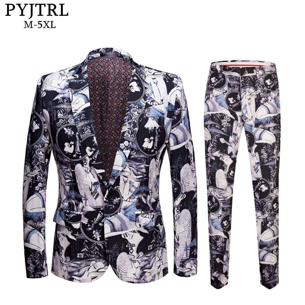 PYJTRL Men Plus Size Retro Vintage Beauty Print Slim Fit Casual Suits Latest Coat Pant Designs Tide Fashion DJ Club Suit For Men