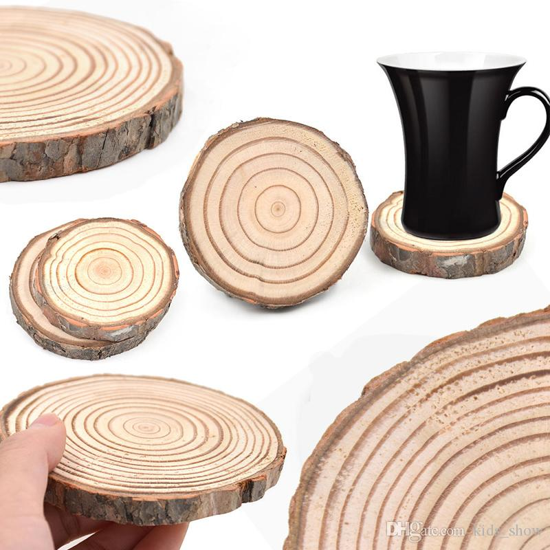 DIY Natürliche Runde Holz Scheibe Tasse Matte Coaster Tee Kaffeetasse Halter Rutschfeste Matte 5 größen