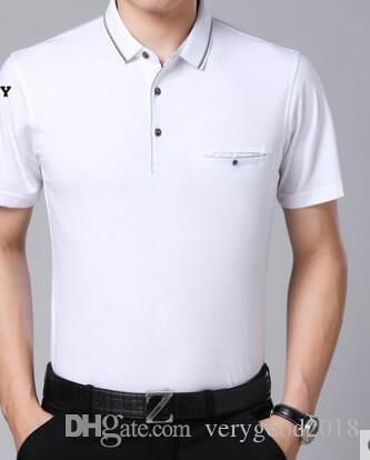 10a57852581 Short Sleeved T Shirt Men'S Summer Thin Business Casual Men'S Lapel Middle  Aged Half Sleeved Shirt Print Shirt Long Sleeve Tee Shirts From  Verygood2018, ...