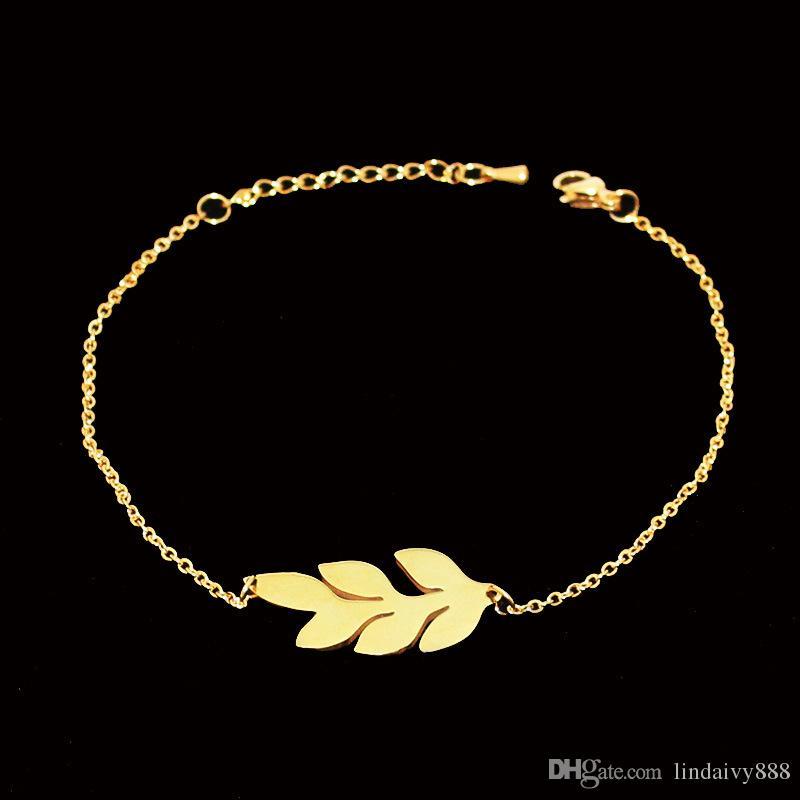 Encanto de la hoja Pulsera Breve Oro / Plata Color Acero inoxidable Planta Diseños de moda Hojas Pulseras para damas de honor Regalo de mujer wholeslae