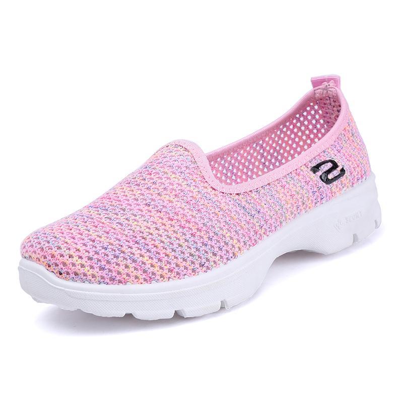 c9581f12d9 Compre Confortável Das Mulheres Sapatos De Caminhada Malha Respirável Mulher  Tênis Das Senhoras Fácil Deslizamento Em Sapatos 2018 Verão Novo Estilo  Flywire ...