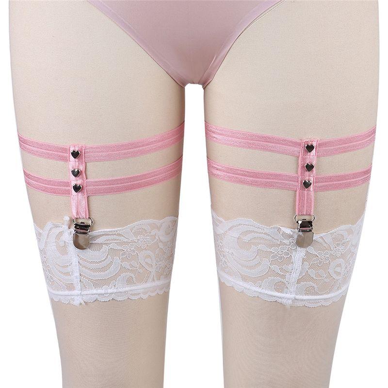 Fetish Wear Leg Pink Garter Belt Harajuku Punk Leg Harness Socks Suspender  Belt 90's Harness Belt p0015