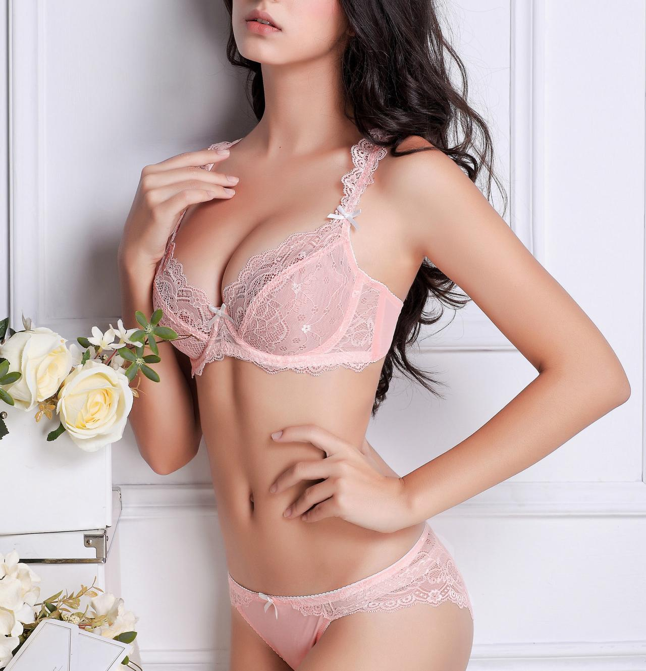 2019 Pink Bra Set 2017 Underwear Women Sheer Lace Sweetheart Ultra Thin  Transparent Sexy Bra Panty Push Up Girls Hot Lingerie Sets From Maluokui 37cc837fc