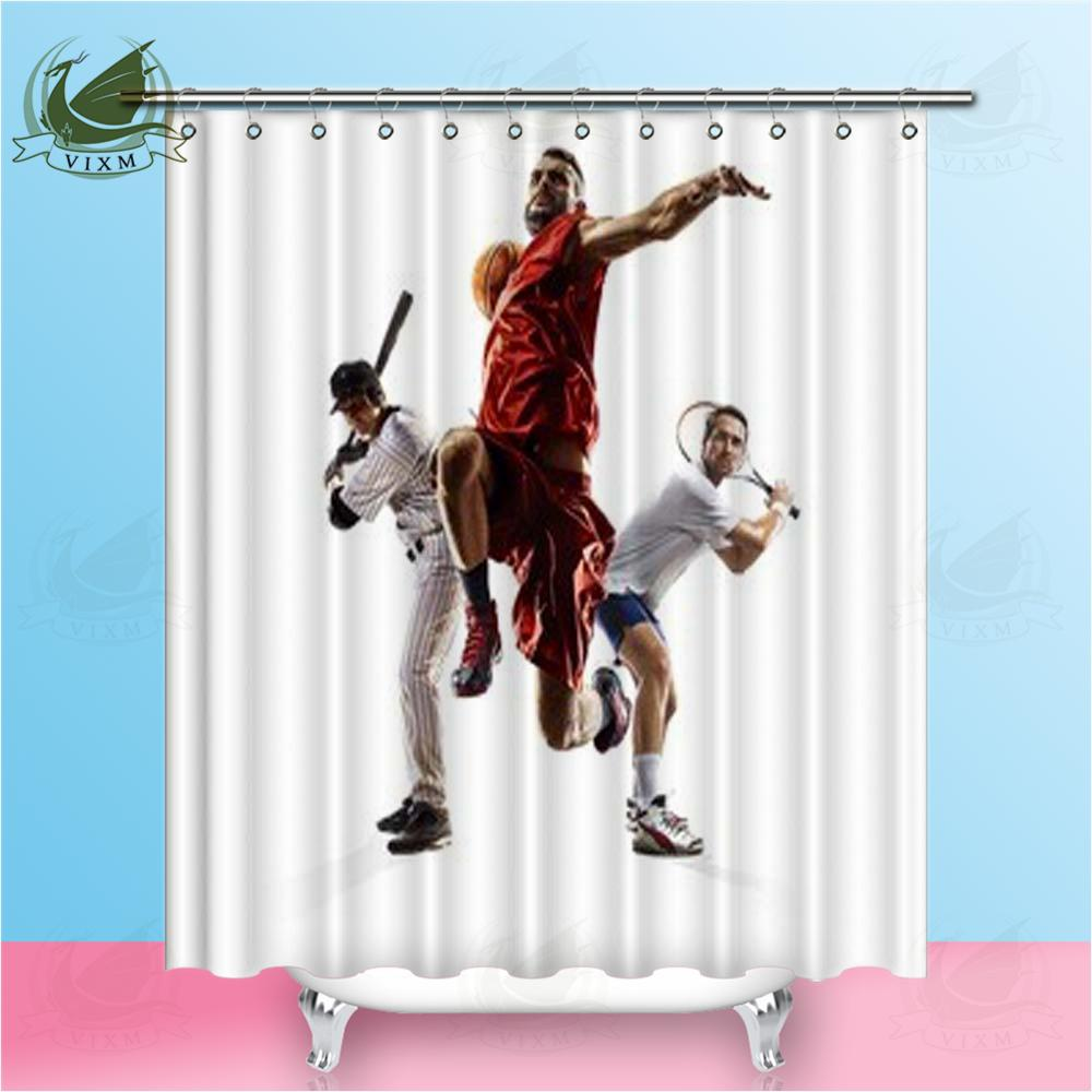 2019 Vixm Multi Sports College Baseball Tennis Basketball Shower Curtains Polyester Fabric For Home Decor From Bestory 1665