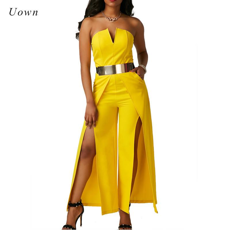 5332df70a764 2019 Elegant Evening Strapless Jumpsuit One Piece Long Pants Romper Thigh  High Split Special Occasion Yellow White Wide Leg Jumpsuits Y1891807 From  ...