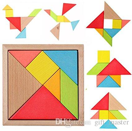 Wooden Tangram Puzzles Children Educational Games Toys Brain Teaser DIY  Geometric Shape Jigsaw Puzzle Kids Intelligence Learning For Prescho
