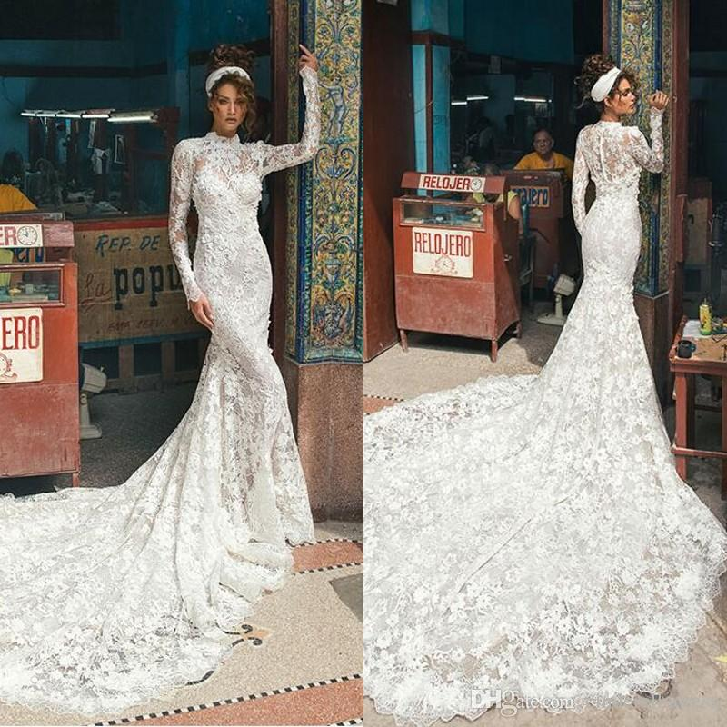 255be15d19 2018 Vintage Berta Full Lace High Collar Wedding Dresses With Long Sleeves  Covered BUttons Back Court Train 3D Floral Applique Bridal Dress Plus Size  ...