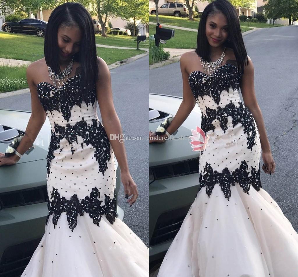 White and black mermaid prom dresses