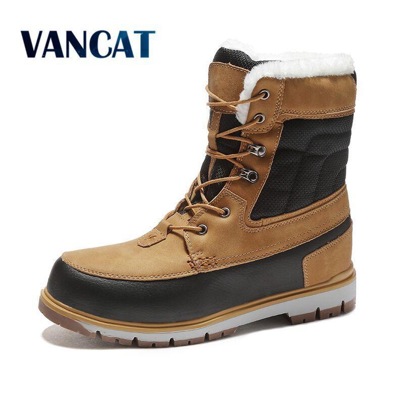 2b294c9d6cac50 2019 Vancat Winter Warm Plüsch Fell Schneeschuhe Herren Ankle Boot Qualität  Lässig Motorrad Boot Wasserdicht Herren Stiefel Big Size 39-47 Sneakers