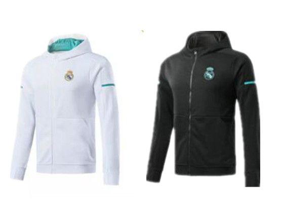 deb27ceff6 Real Madrid jaqueta de manga comprida terno tem chapéu de futebol Jersey 17  18 Real Madrid branco uniforme de treinamento 2017 preto jaqueta de  uniforme de ...