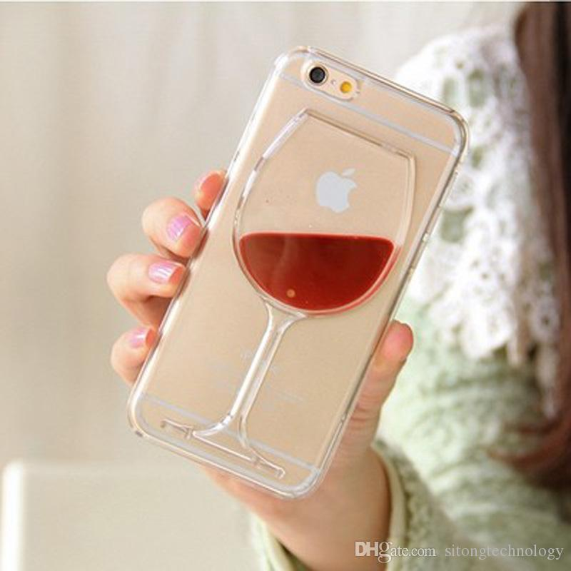 purchase cheap 879f7 1da7e Hot Red Wine Glass Transparent Phone Case Hard Back Cover For iPhone 5 5S  SE 6 6S 7 8 Plus Phone Case Housing