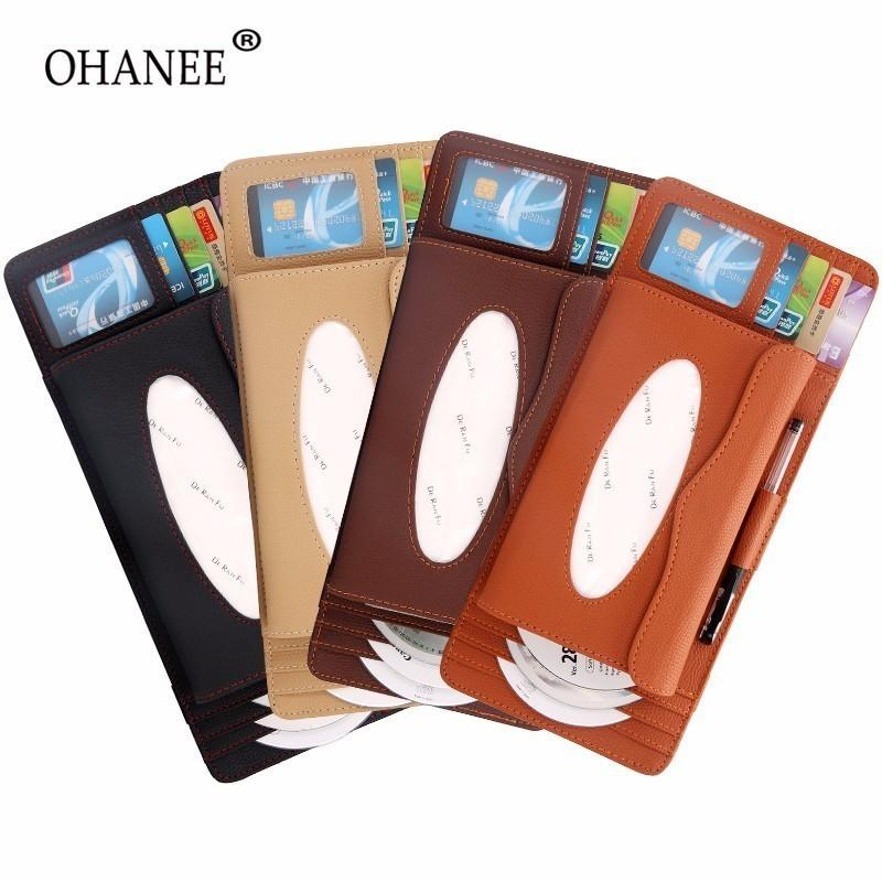 OHANEE universal Car sun Visor type tissue box Card slot cd card Clips for Car sunshade Organizer auto Accessories Styling