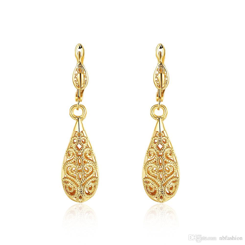 2018 New Women Jewelry Rose 18K Gold Earrings Creative Water Drop ... 3d6f8b311226