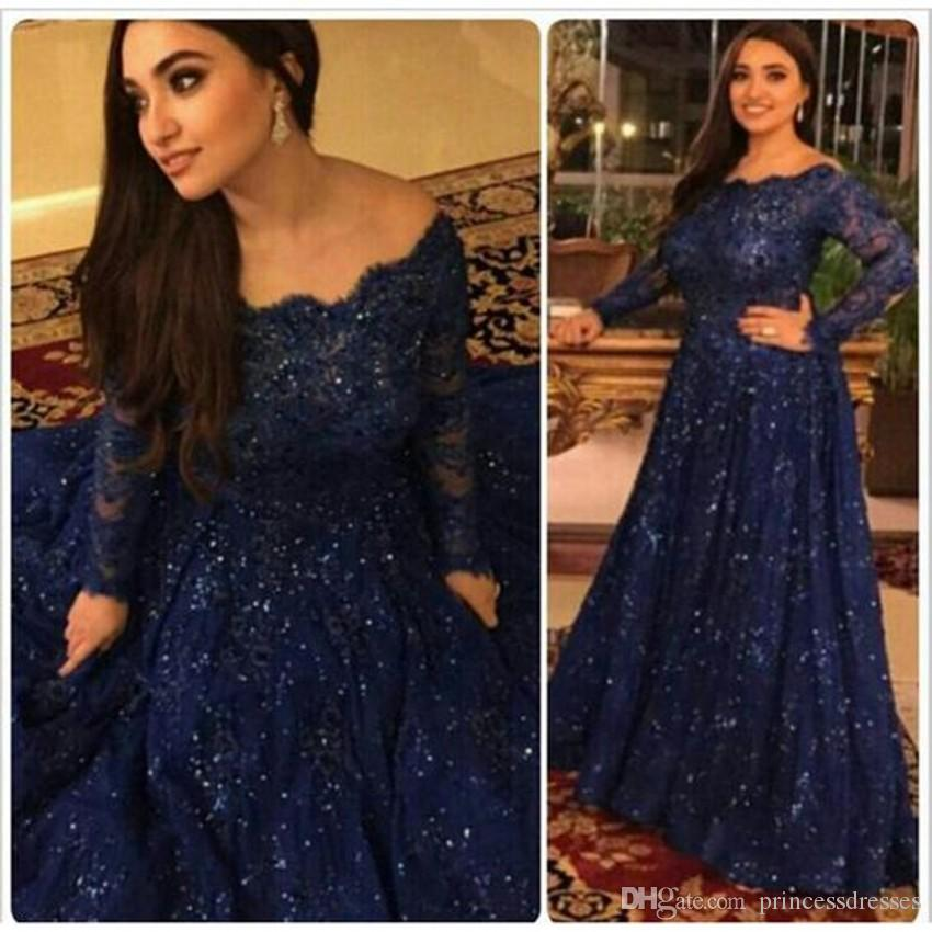 Hot Sale Plus Size Dark Navy Lace Evening Dresses Bateau Long Sleeve Beaded Formal Dresses Evening Wear A-Line Prom Gowns 2018 Custom Made