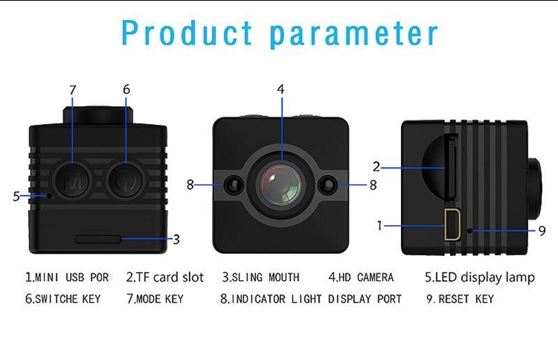 Mini DV DVR SQ12 Mini cámara impermeable Full HD 1080P 720P Detección de movimiento Mini deporte Cámara de video con visión de la noche infrarroja