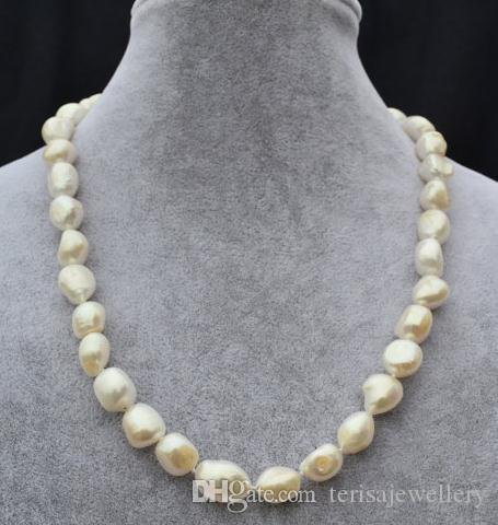 0ddcd30c73ed9b 2019 Genuine Pearl Necklace,18inches 11X14mm White Big Natural Freshwater Pearl  Necklace,Fashion Woman Wedding Pearl Jewellery From Terisajewellery, ...