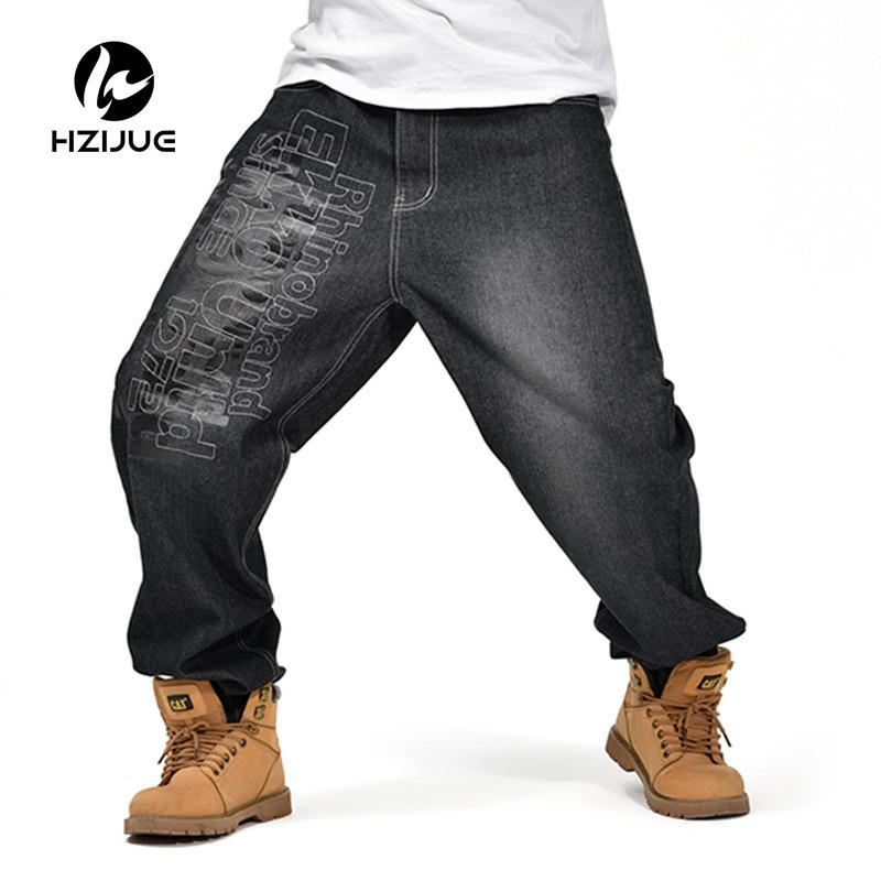 2017 Men s Black Baggy Jeans Hip Hop Designer Brand Skateboard Pants loose  Style Plus True HiP Hop Rap Jeans Boys Trousers 30-46