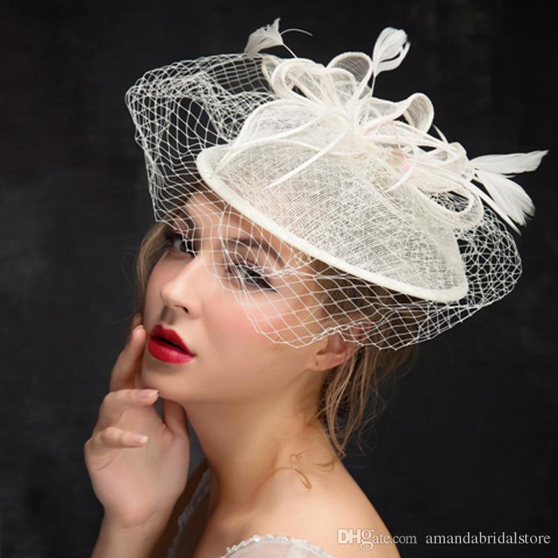 Amandabridal Flowers Feather Wedding Hats For Brides Women Tulle Ivory Birdcage Veil Bridal Hats Hair Pieces Bridal Accessories