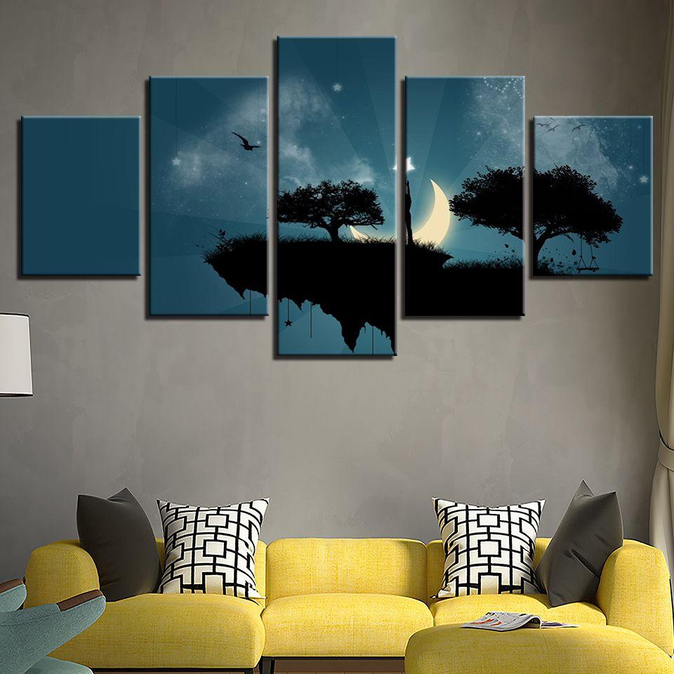Современный холст фото HD печатных стены искусства Кадр 5 шт. скалы деревья Лунный свет ночь гостиная Home Decor живопись плакат